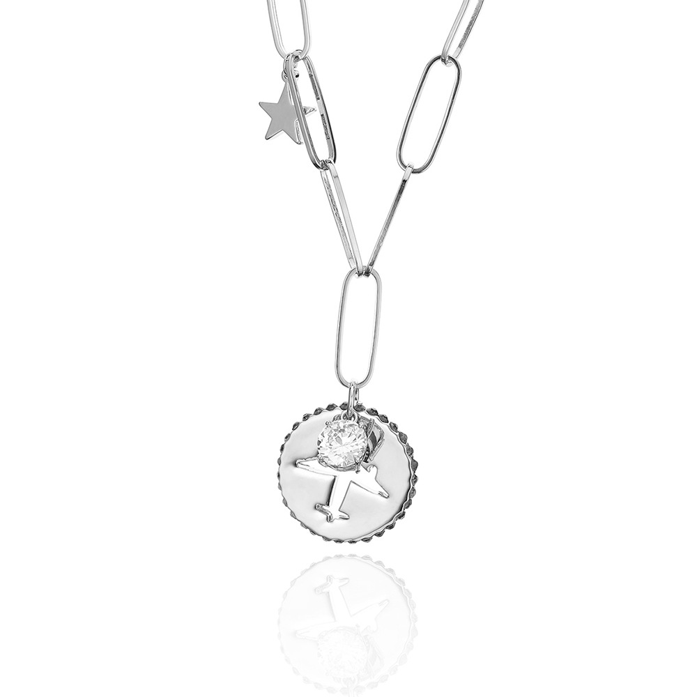 Fanqieliu Environment-friendly Silver Color Rhinestone Necklace For Women 2018 Fashion Airplane Star Pendant Necklace FQL10512 image