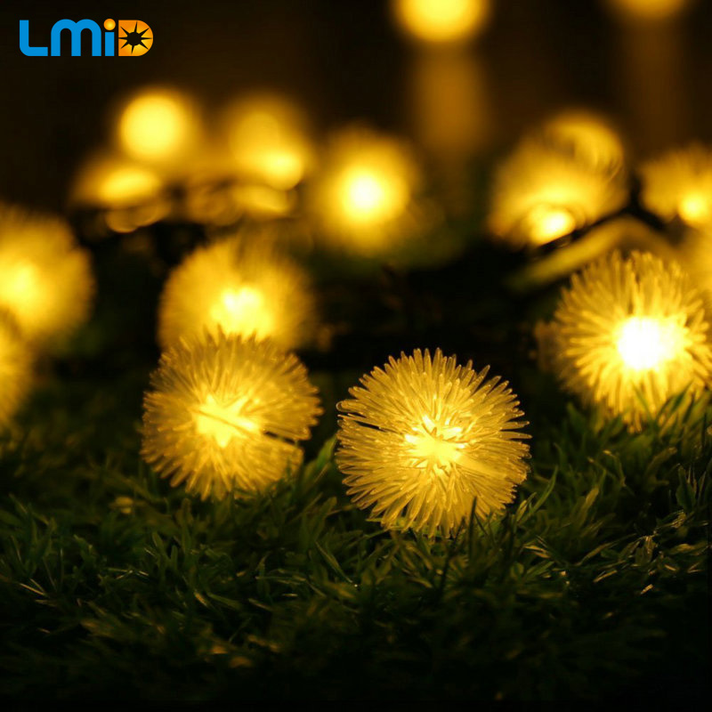 Outdoor Solar Lamps 4.8M 20LEDs Solar Powered Snowflake Fairy Solar Lights for Garden Outdoor Holiday Christmas Decoration