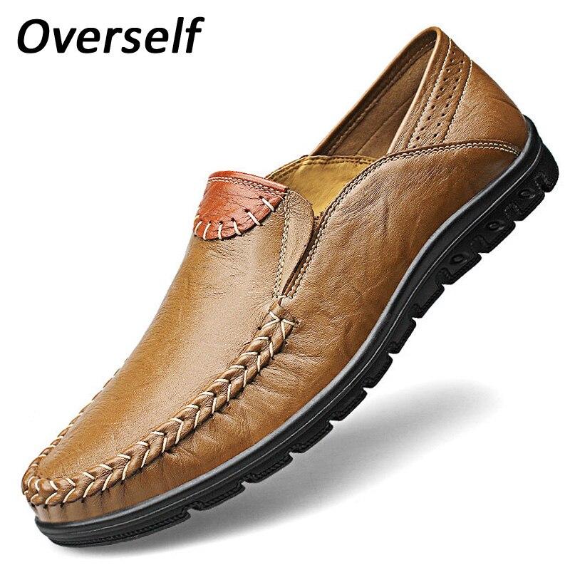 متعطل تنفس الأحذية مريح القيادة جلد البقر أحذية 38 إلى 46 حجم كبير جودة عالية جلد طبيعي الرجال الأحذية الأخفاف الناعمة