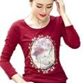 Новый FashionT Рубашка Женщины С Длинным Рукавом Футболка Новинка Ретро вышитые блестками cottonTops Плюс Размер S-XX