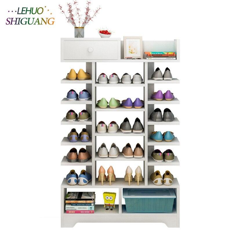 Scarpa armadio di stoccaggio di Legno scarpiera Con cassetto Multifunzionale di grande capacità scarpa organizer rack home Living Room Furniture