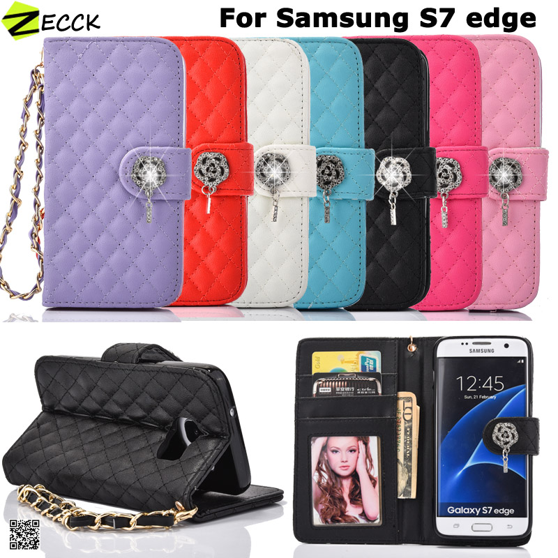 Fashion Rose Handbag Leather Wallet Flip case for Galaxy S6 S7 Edge/iphone5 5s se 6 6s plus Card Holder Purse Hand strap Cover
