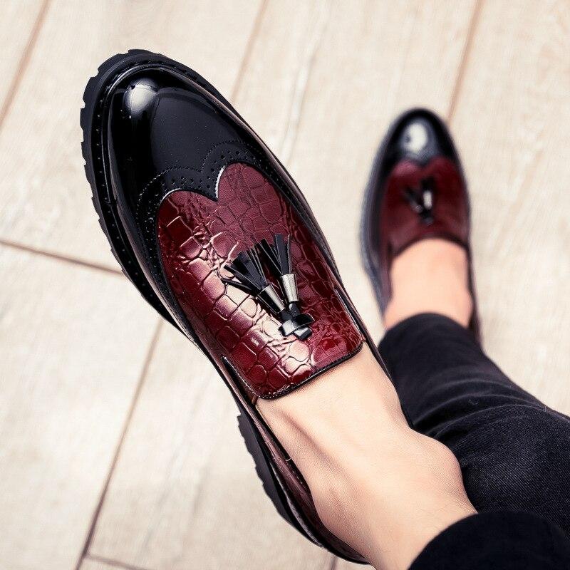 Hommes en cuir richelieu à Brown Contraste Lacets Smart Décontracté Léger Chaussures Taille