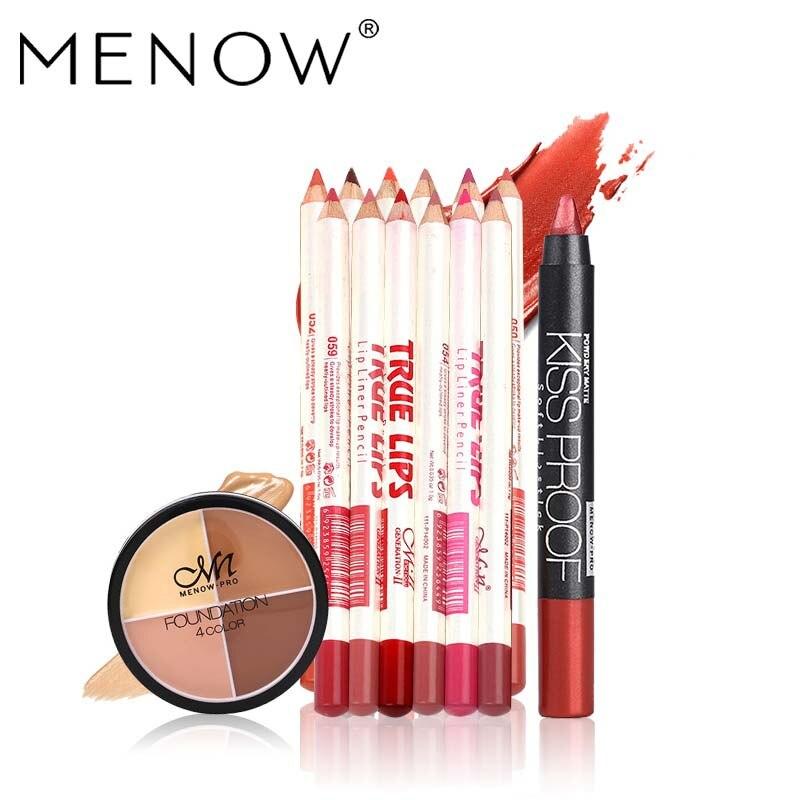 MENOW Brand Makeup set 12Colors/Set Waterproof Lip liner Pencil &19 Colors Sexy KISS PROOF Matte Lipstick &Concealer Cream 5431