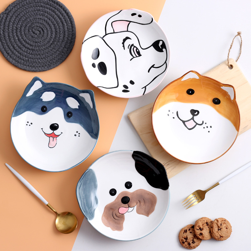 8 inch 3D Dog Dinner Plate Bowl Spoon Set Kids Noodle Bowl Ceramic Pet Bowl Decorative Plate Cartoon Animal Dinnerware Crockery 1