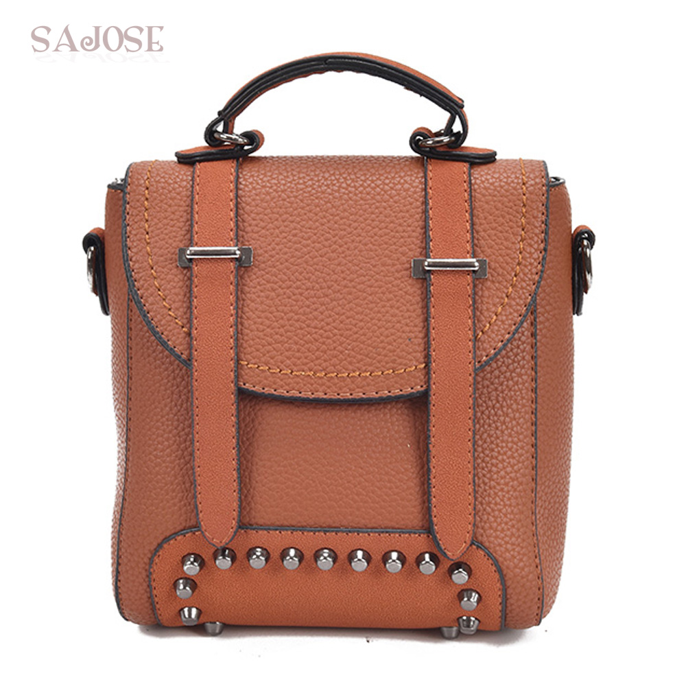 Women Leather backpack High Quality Fashion Vintage School Shoulder Bag Multifunction Rivet Lady Student bag DropShipping 8m inflatable christmas santa claus cartoon for adversting inflatable trees and house and box customized festival toy
