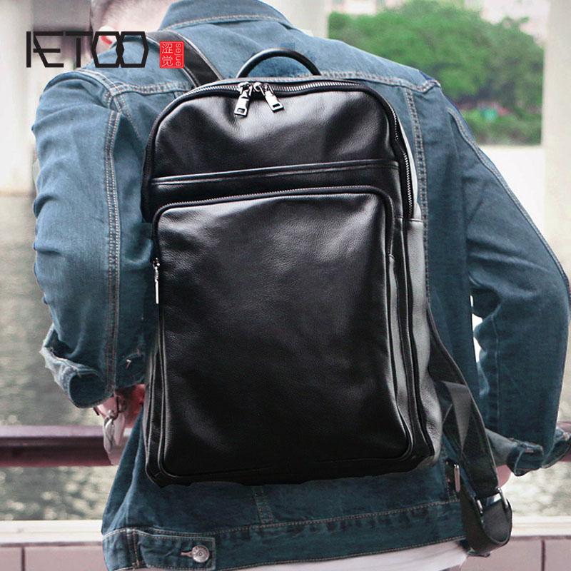 AETOO New leather men bag fashion casual cowhide backpack large capacity retro bag