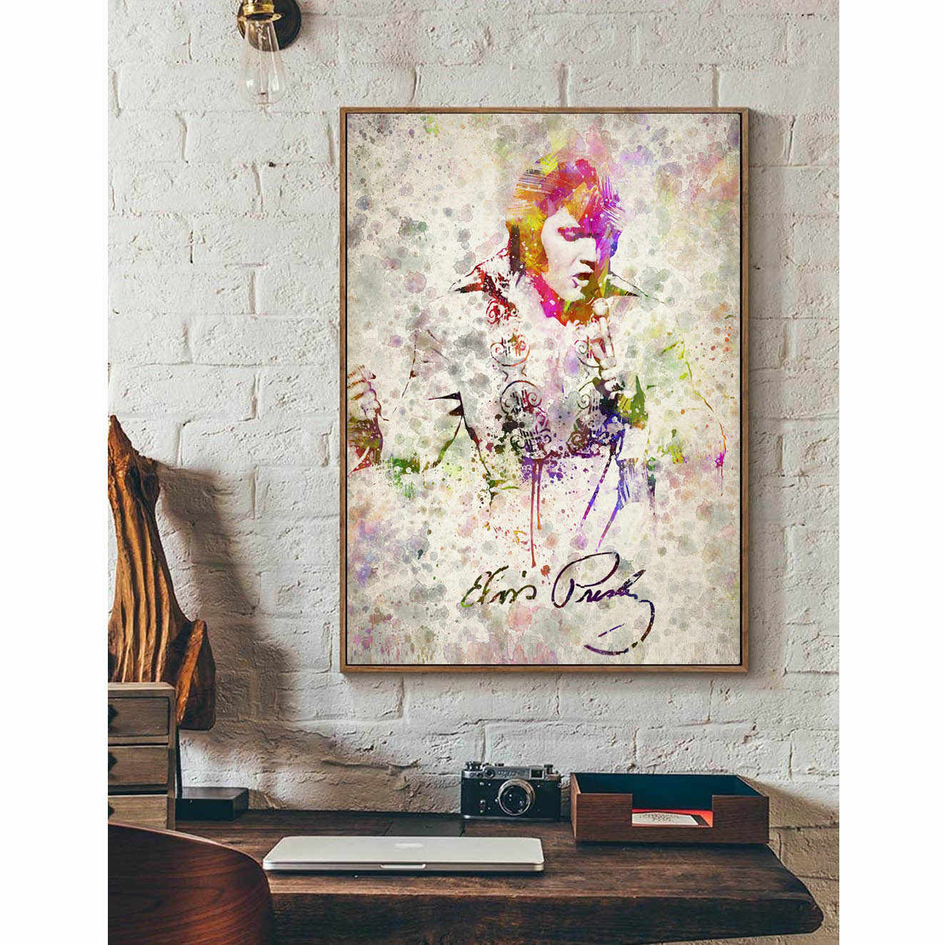 Elvis Presley Minimalism Art Canvas Poster Print Music Rapper Star Watercolor Style Picture for Modern Home Decor Gift FA104