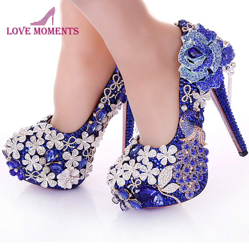 2018 Blue Crystal Wedding Dress Shoes Rhinestone Peacock Gorgeous High Heel Shoes Nightclub Prom Dress Shoes Bridal Dress Shoes rhinestone square heel mens dress shoes