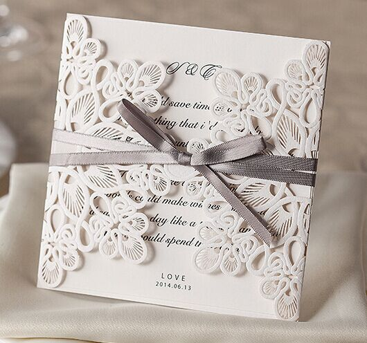 50pcs FREE SHIPPING Elegant White Lace Damask Flower Vintage Wedding Invitation Card Greeting Blank