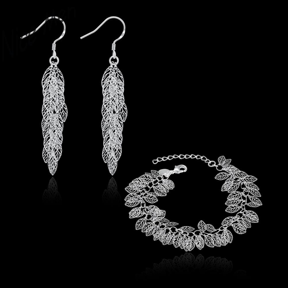 Leaf Blade chorker necklace earrings set own styles S802 2015 bulk sale bridal party jewelry sets