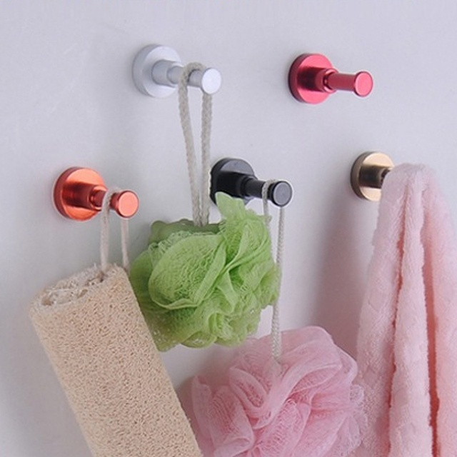 de8666b39a9 2pcs DIY Household Towel Wall Hook Bathroom Kitchen Door Clothes Key Hat  Bag Hanger Rack Holder