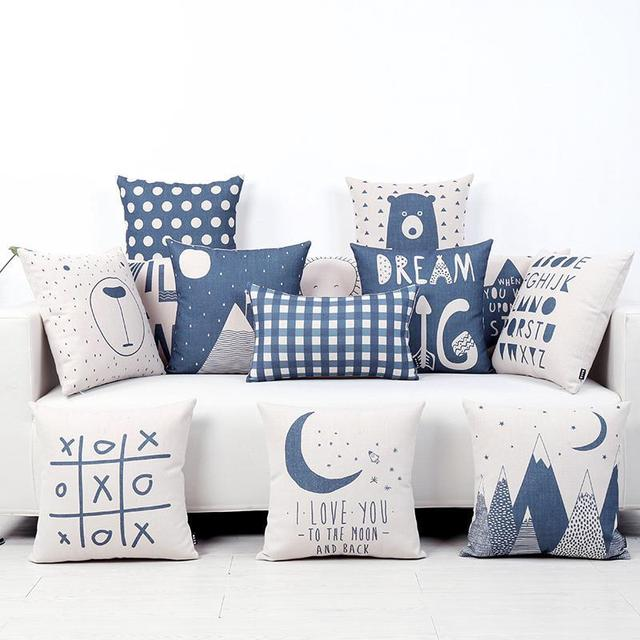 Nordic Style Blue Cushion Cover For Kids
