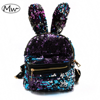 Moon Wood Newest Bling Sequins Backpack Cute Big Rabbit Ears Double Shoulder Bag Women Mini Backpack