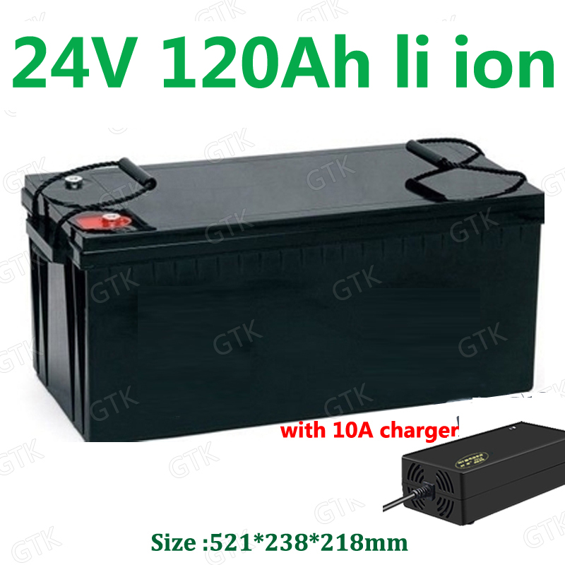 GTK waterproof 24V 120AH Lithium ion battery BMS li-ion for 2400W RV EV scooter solar golf cart UPS backup power +10A Charger