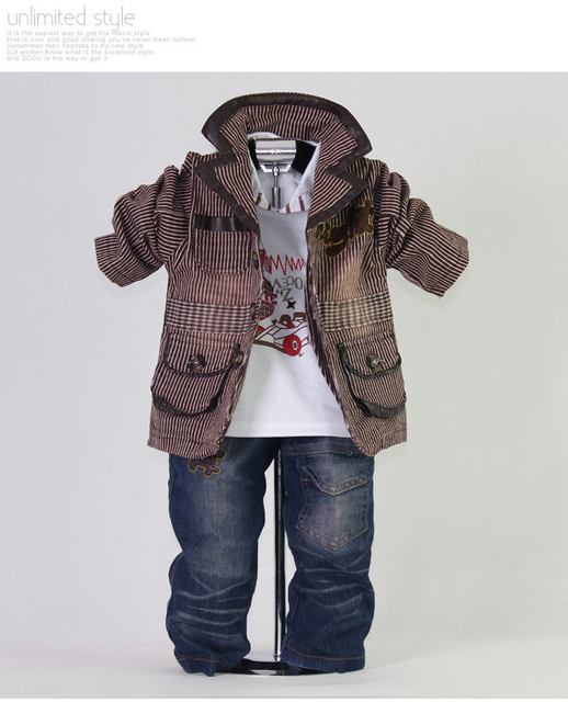 2012 New Autumn Brown Kids Clothes Set Boys 3Pcs Suit and T Shirt and Jeans Whosale Clothing 100% Same Like Picture  in Stock