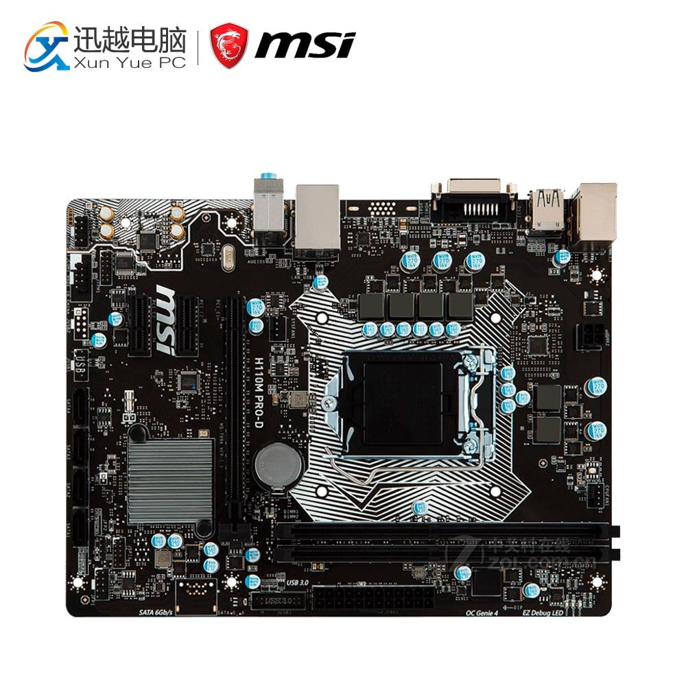 MSI H110M PRO-D Desktop Motherboard H110 Socket LGA 1151 i3 i5 i7 DDR4 32G SATA3 Micro-ATX asus h110m k desktop motherboard intel h110 chipset socket lga 1151 micro atx