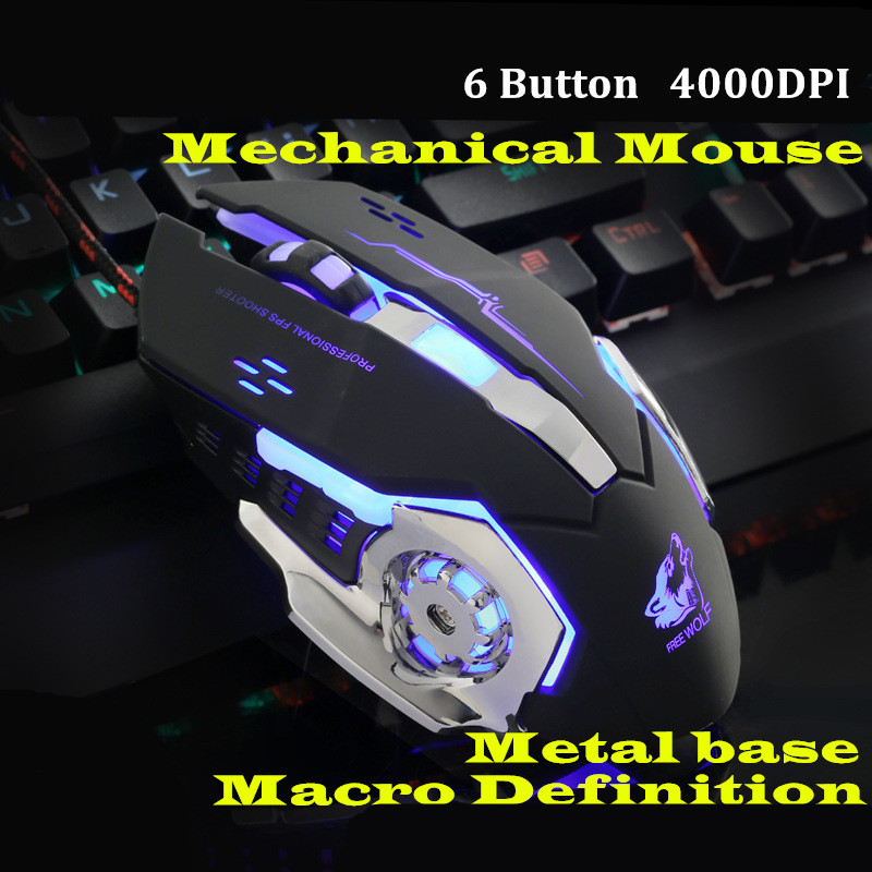 Gaming Mause 6 pulsanti Wired Mouse DIY G Software 4 colori Lampada di respirazione Ajustable 4000 DPI USB Mouse Mouse meccanico