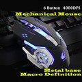Juego Mause 6 botón ratón con cable DIY G Software 4 Color Lámpara de respiración Ajustable 4000 dpi USB ratones ratón mecánico gamer