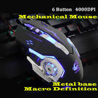 Ratón Gaming Mause con cable de 6 botones, Software G DIY, lámpara de respiración de 4 colores Ajustable 4000 DPI, ratón USB, ratón mecánico, jugador