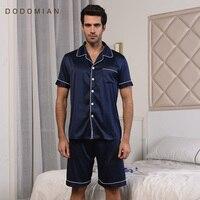 Brand Silk Male Sleepwears Lounge Summer Mens Pajamas Sets Clothing Solid Short Sleeve Men PJS Nighties