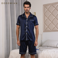 Merk Zijde Mannelijke Sleepwears Lounge Zomer Mens Pyjama Sets Kleding Solid Korte Mouw Mannen PJS Nachtjaponnen Shirts + Shorts Homewears
