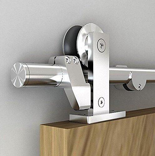 DIYHD 5FT-13FT Stainless Steel Top Mount Sliding Barn Door Track Easy Mount BarnCloset Wood Hardware Kit