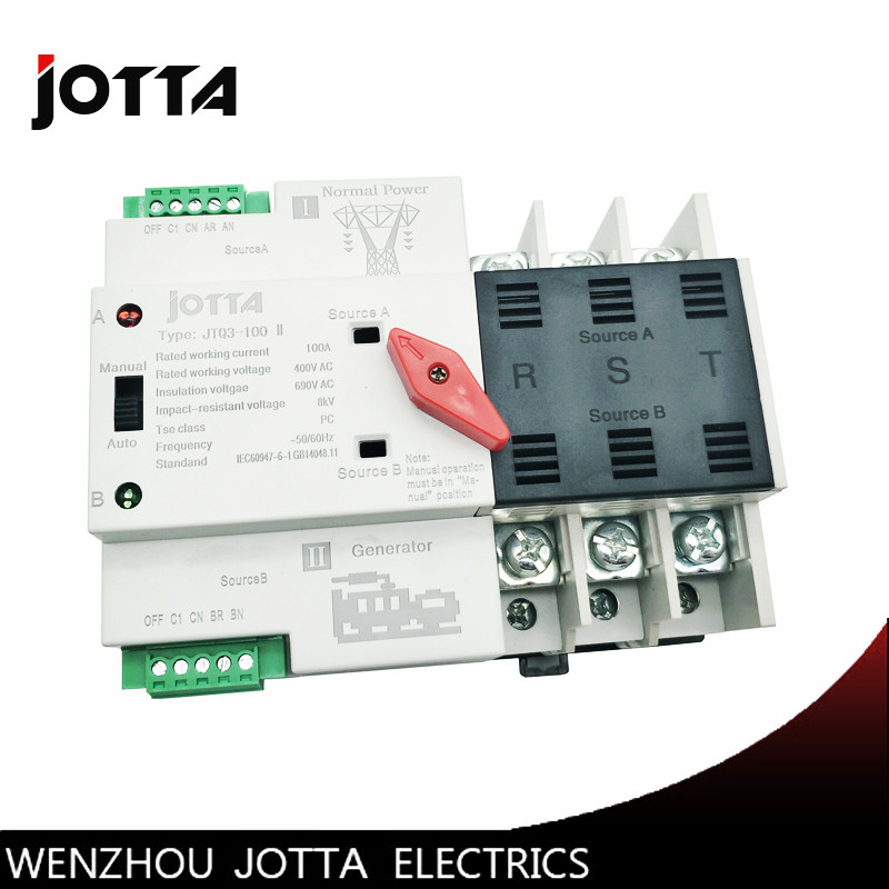 Jotta W2R-3P Mini ATS Automatic Transfer Switch 100A 3P Electrical Selector Switches Dual Power Switch Din Rail Type easypact cvs160b ma 3p lv516430 3p 100a lv516431 3p 150a