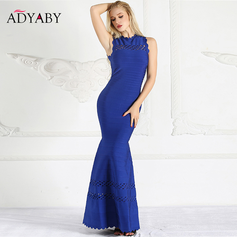 Elegant Evening Party Dress Women Sleeveless Hollow Out Bandage Dress Maxi Floor Length Slim Ruffle Mermaid