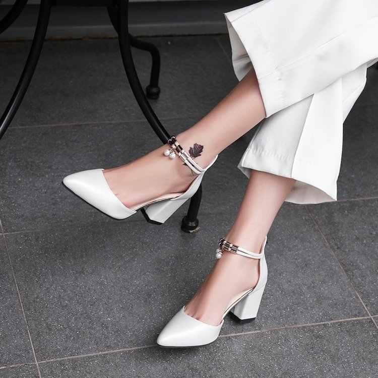 Yeni kadın yaz moda seksi sivri burun düğün parti yüksek topuklu ayakkabılar kadın inci sandalet Zapatos Mujer a02