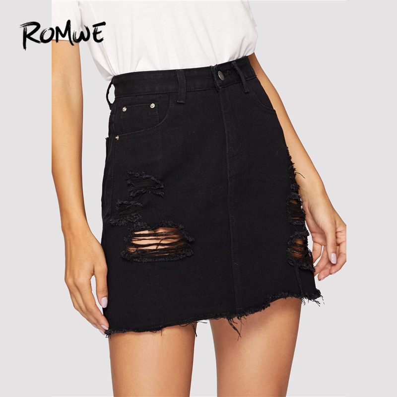ROMWE Black Leisure Wash Distressed Denim Skirt Women Summer Pocket Retro Frayed Edge High Waist Ripped Casual Mini Skirts