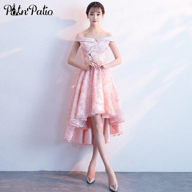 Pink High Low Bridesmaid Dress Women Elegant Y Off Shoulder Short Front Long Back Lace Formal