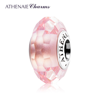 ATHENAIE Genuine Murano Glass 925 Silver Core Faceted Charms Bead Fit All European Bracelets And Necklace