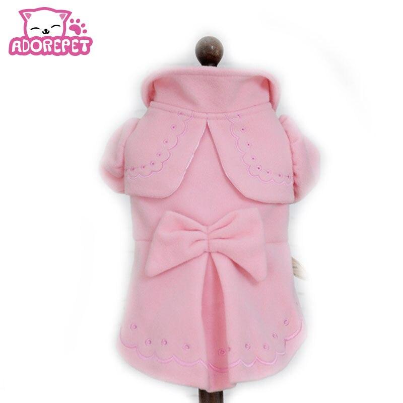 Talvel soe koer luksuslik vill kraavi mantel kostüüm väike koer lemmikloom kass printsess vibu kleit seelik riided chihuahua koer riided