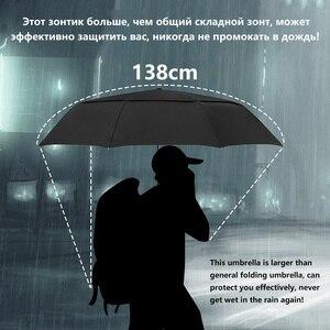 Image 5 - Forte resistência ao vento 125cm grande guarda chuva automático masculino dupla camada 3 dobrável paraguas guarda chuva de golfe chuva feminino guarda chuva de viagem