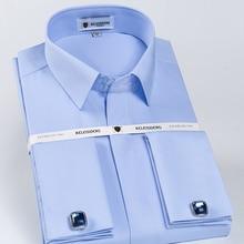 Мужские Non Iron Slim Fit French Cuff Dress рубашка с длинным рукавом крытая планка Solid twill элегантный Сорочки для жениха (запонки в комплекте)