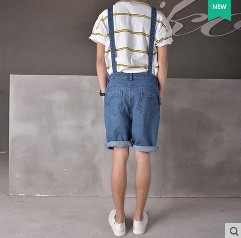 Pantalons Costumes Casual Hommes Sangle Printemps Salopettes 2016 Minces Short Masculins Et Spaghettis Vêtements Été Bleu Denim Chanteur xIgqqwZBT