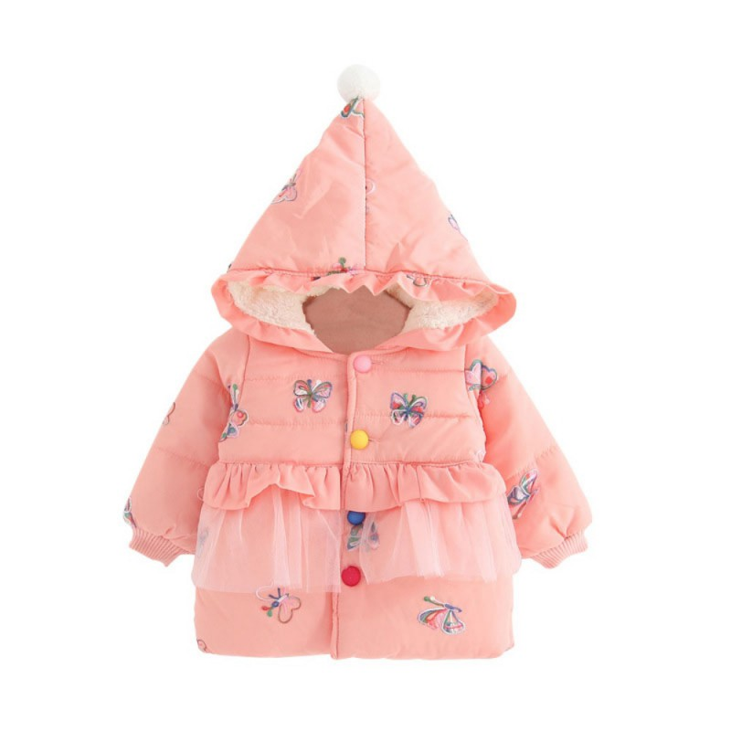 Winter Warm Down Jacket Coats Long Sleeve Mesh Outerwear Clothes Baby Girls Cute Hooded Coat Kids Handmade Cotton 2017 winter baby coat kids warm cotton outerwear coats baby clothes infants children outdoors sleeping bag zl910