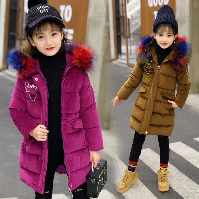 Girls Winter Coat -30 degree Snow Wear Children Parka Coat Hooded Fur Collar Velvet Clothes Kids Thick Warm Jackets For Girls спот 60369 paulmann
