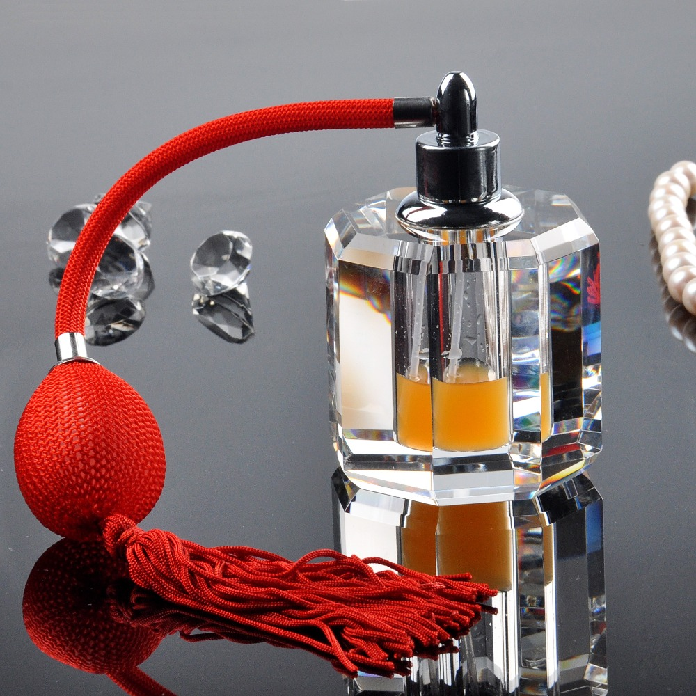 H&D Clear Vintage Crystal Refillable Empty Perfume Bottle with Red Bulb Tassel Spray Atomizer 12ml