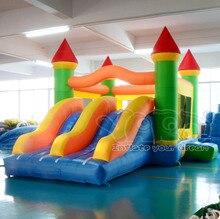 Гигантский двойной слайд надувной замок прыжки вышибала препятствий надувной замок moonwalk
