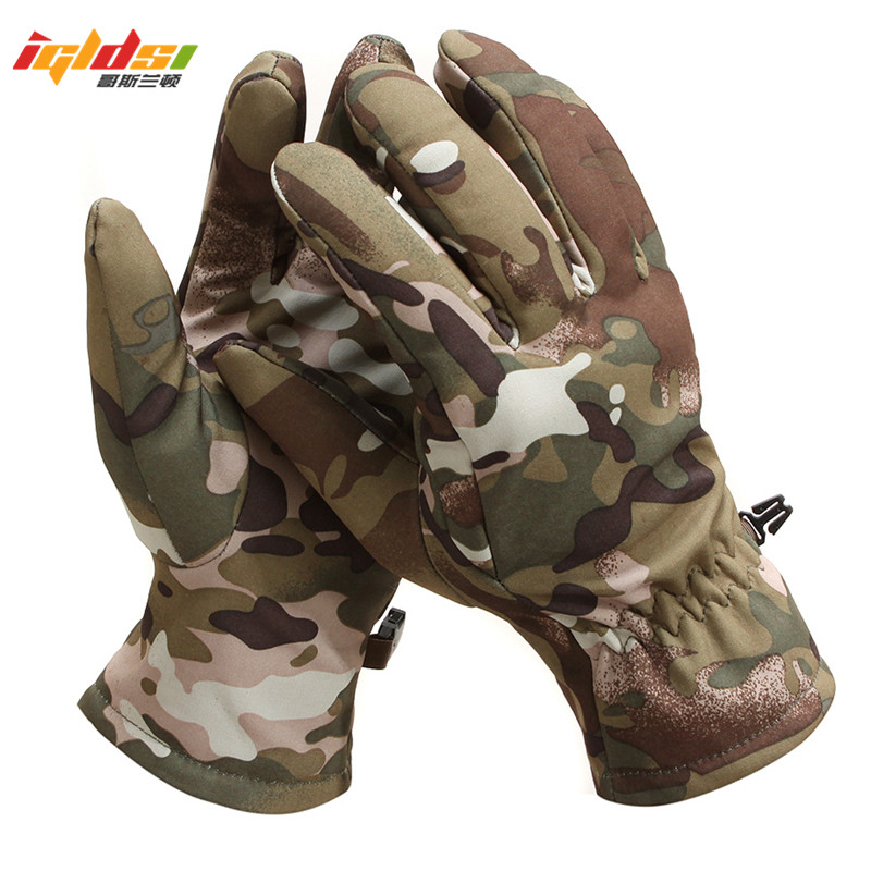 Tactical Shark Skin Soft Shell Camouflage Gloves Men/Women Winter Unisex Warm Waterproof Windproof Army Fleece Gloves M L XL