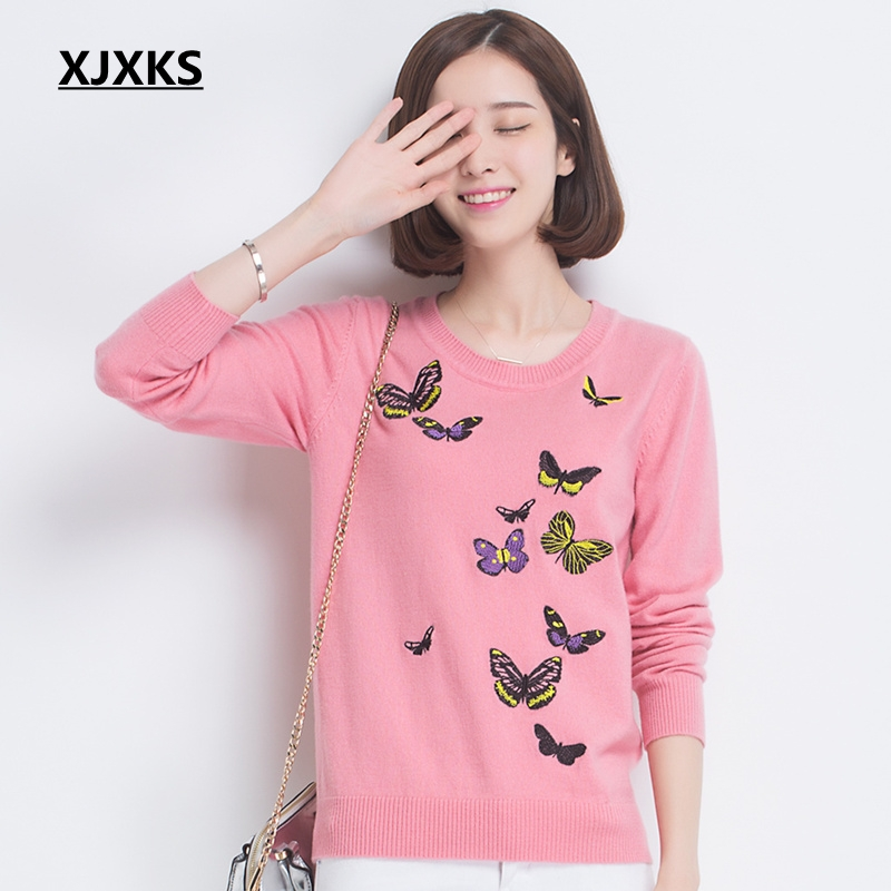 XJXKS 2019 New Autumn And Winter 100% Wool Sweater Women Jumper Long sleeve Embroidered Butterfly Women Pullover