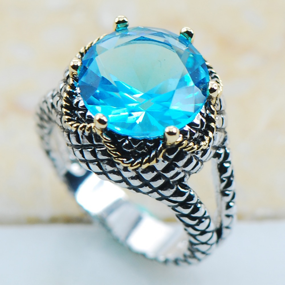 Simulated Aquamarine 925 Sterling Silver Top Quality Fancy Jewelry wedding Ring Size 6 7 8 9 10 11 F1125