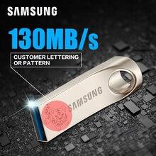 SAMSUNG USB Flash Drive Disk 32G 64G 128 USB 3.0 Metal Super Mini Pen Custom lettering pattern Drive Tiny Pendrive Memory Stick