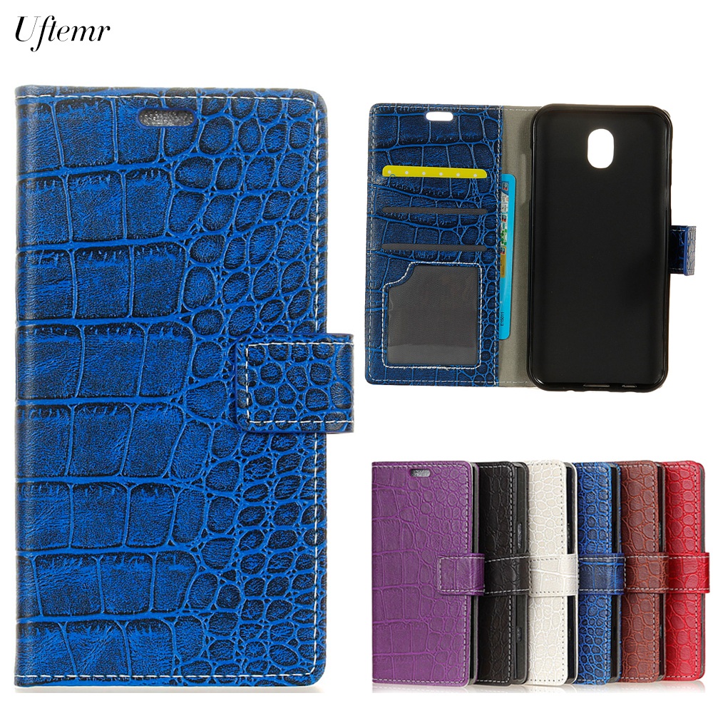 Uftemr Vintage Crocodile PU Leather Cover Silicone Case for Samsung Galaxy J3 2017 Eurasia Edition Wallet Card Slot Acessories