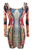 New 2015 Sexy Dress Autumn High Street Style Long Sleeve O Neck Paradise Luxe Multicolor Mirrored
