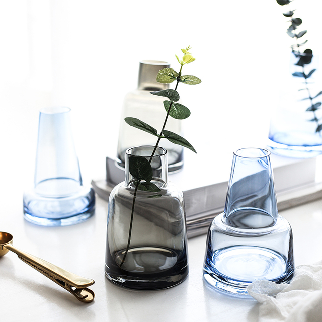 Gray Blue Glass Flower Vase Mawgie