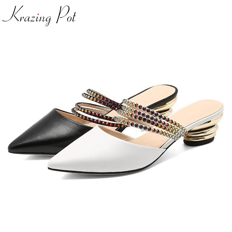 Krazing pot 2018 natural soft cow leather strange style med heels summer women elegant sandals superstar pointed toe mules L35Krazing pot 2018 natural soft cow leather strange style med heels summer women elegant sandals superstar pointed toe mules L35