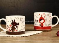 cute cartoon ceramic cup Personalized lovers ceramic cup little girl ceramic mugs Wolf Beautiful coffee cup